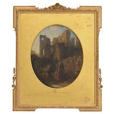 Edmund John Niemann (1813-1876) Painting Ruins Of Kenilworth Castle 1851 Oil On Canvas