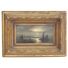Conrad Hoff (1816-1883) German school Marine View of boats in the Venetian lagoon Oil on board