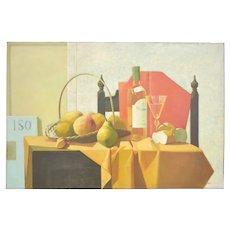 L. Mair Still Life Painting with pears and grapes Oil on canvas