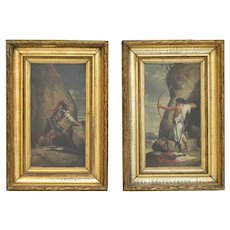 Pair Of Paintings Depicting Soldier And Archer Oil On Panel 19th Century