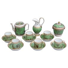 French Old Paris 19th century soft paste porcelain tea set for six persons decorated with romantic landscapes