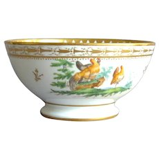 Old Brussels Porcelain Bowl In A Style Of Louis Cretté Decoration Representing Henyard 19th Century