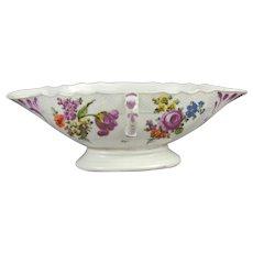 18th century Vienna porcelain sauce boat. Polychrome floral overglaze decoration.