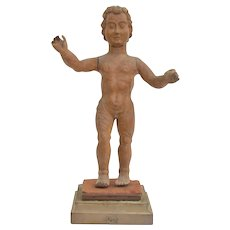 Carved Wooden Statue Of Jesus Child Spanish School Of 17th Century