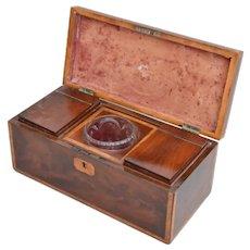 English Mahogany Tea Box Containing Two Caddies Framing A Crystal Bowl XIXth Century