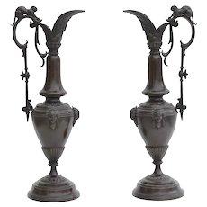 Pair Of Napoleon III 19th Century Patinated Bronze Renaissance Style Decorative Pitchers