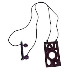 Vintage French Lalique Glass Necklace (Purple)