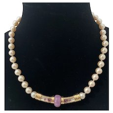 Givenchy Vintage Choker Necklace with Simulated Pearls