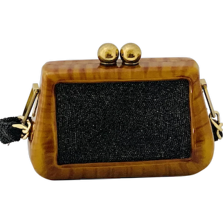 Vintage Bakelite Beaded Stone Bag Purse