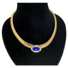 Vintage Christian Dior Blue Enamel Choker Necklace