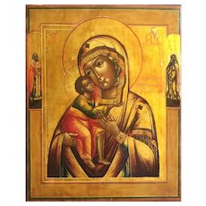 Antique Russian Orthodox Icon of the Virgin of Tenderness Feodorovkaya 19th century