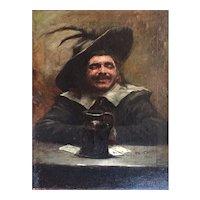 Benito Belli (1870-1899) The Card Player Oil On Canvas Italian School
