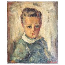 Pastoukhoff Boris (1894-1974) Portrait of a Child Oil on Canvas Paris School
