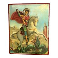 Antique Greek Orthodox Icon of Saint George Slaying The Dragon 19th Century