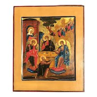 Large Antique Russian Orthodox Icon of the Old Testament Trinity