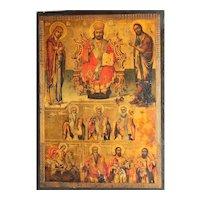 Large Antique Greek Orthodox Icon of Christ, Mary and Saint John 19e century