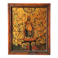 Large Rare Greek Orthodox Icon of The Tree Of Jesse Dated 1826
