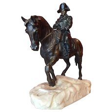 Large Equestrian Bronze Of The Emperor Napoleon Signed Conill, 19th Century