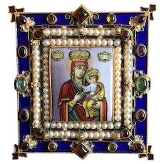 Antique Russian Orthodox Icon Of The Virgin Of Chernigov