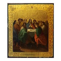 Antique Russian Orthodox Icon Of The Last Supper 19th Century