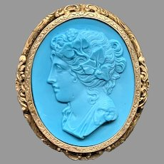 Beautiful antique Victorian Pate de verre turquoise color - High relief cameo brooch Rare left facing