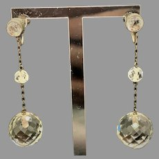 Flashy vintage Art Deco era sterling silver faceted crystal drop style earrings