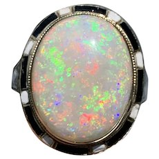 Huge Vivid vintage Retro opal ring in enameled 14kt yellow gold setting