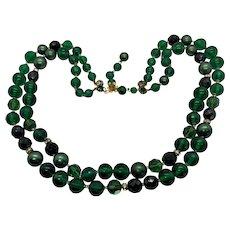 Vintage signed costume designer De Mario double strand emerald green beaded necklace