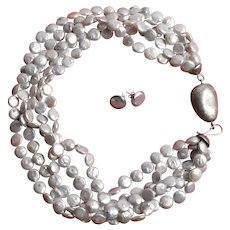 Set of cultured coin flat Pearls, Necklace and Earrings - 925/1000 Silver