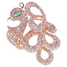 Pink Swan Inspired 2.27 Carat Fancy Pink Argyle Diamond Emerald Animal Love Ring