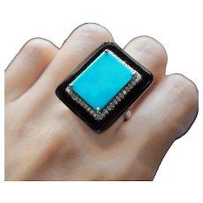 9.97 Carat Turquoise 6.30 Carat Onyx Diamond Cocktail Lucky Ring
