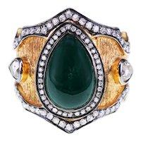 IGI Certified 3.93 Carat Emerald 1.15 Carat White Diamond Mughal Style Ring