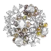4.31 Carat Green Diamond 1.90 Carat White Diamond Stunner Ring 18 K Gold