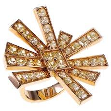 Fancy Vivid Yellow 6.42 Carat 18 K Gold Almost 16 Grams Sun Ray Ring