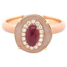 IGI Certified 0.73 Carat Vivid Red Ruby 4.79 Carat Moon Stone Cocktail Ring