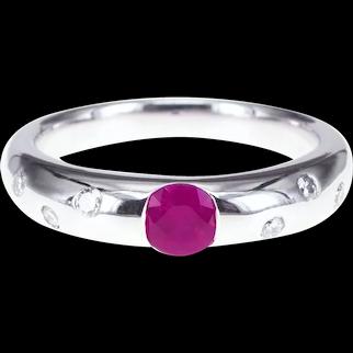 0.32 Carat Round Vivid Red Ruby White Diamond Solitaire Petite Ring