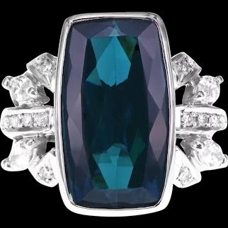 CGL Certified 9.24 Carat Indicolite Rare Tourmaline White Diamond Solitaire Ring