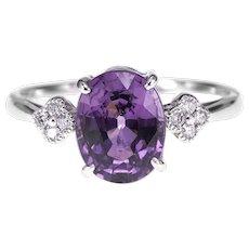 GGTL Certified 2.81 Carat No Heat Spinel Diamond Engagement Ring
