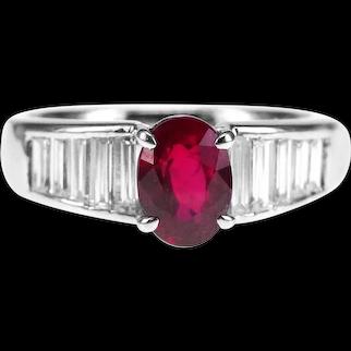 GIA Certified 1.29 Carat Pigeon Blood Ruby Burma 1.10 Carat Diamond Solitaire