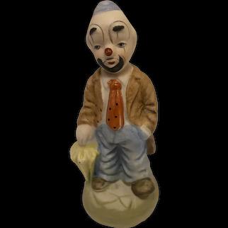 "Vintage Ceramic Clown Figurine with Yellow Umbrella, 5"" Tall"