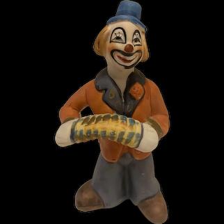 "Vintage Ceramic Clown Figurine with Accordion, 5.5"" Tall"