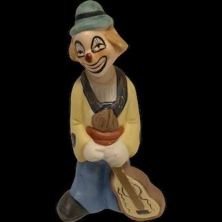 "Vintage Ceramic Clown Figurine with Guitar, 5.25"""