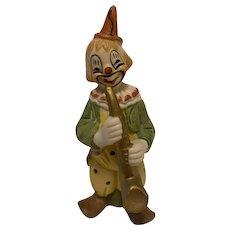 "Vintage Ceramic Clown Figurine with Saxophone, 6"" Tall"