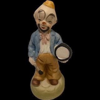 "Vintage Ceramic Clown Figurine with Drum, 5.25"" Tall"