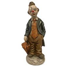 """8"""" Vintage Ceramic Clown in Suit with Orange Umbrella"""