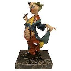 Fontanini Depose Clown on Carrara Marble, Clown with Cigar, #941