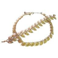 Trifari Vintage Leaf Necklace & Wide Bracelet Gold Tone Set