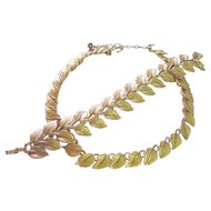Trifari Vintage Leaf Necklace & Wide Bracelet Gold Tone Set