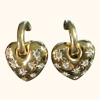 Joan Rivers Heart & Rhinestone Changeable Clips Earrings