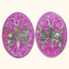 Vintage Abalone Inlaid Butterfly Purple Mexican Clip-On Earrings
